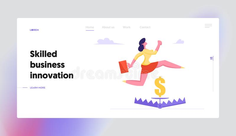 Risk Management Website Landing Page, Businesswoman Jumping over Trap with Sign of Golden Dollar inside, Manager. Character Avoid Dangerous Situation, Web Page stock illustration