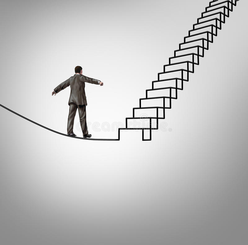Risk Opportunity. And danger management business concept with a businessman balancing on a tightrope shaped as upward stairs or stairway as a financial career