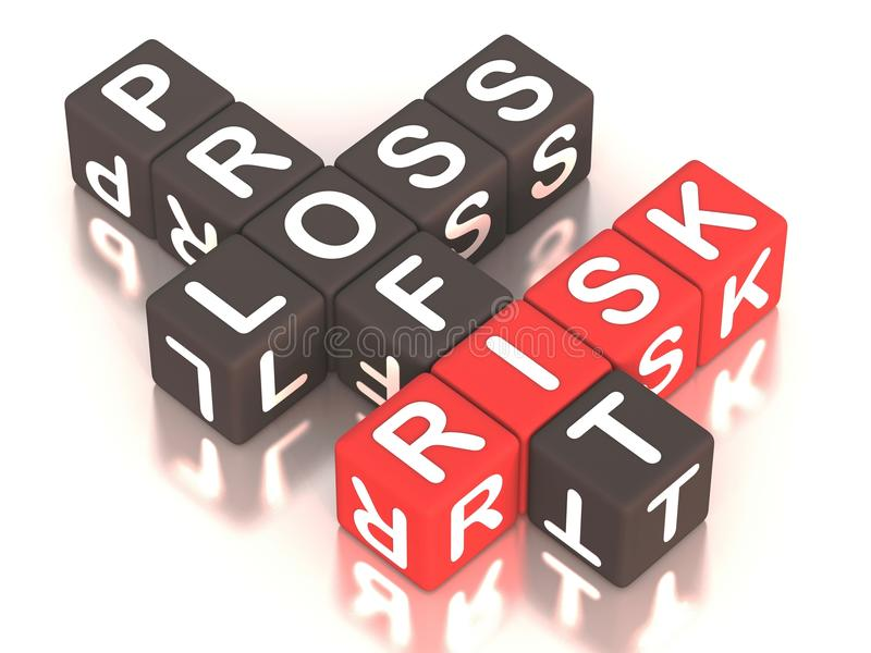 Risk Profit loss. Risk of profit and loss, words: risk, profit and loss in a crossword with risk in red color, white reflective background stock illustration