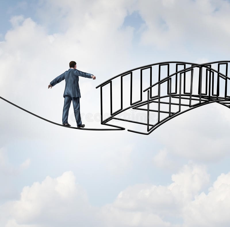 Risk Reduction. Concept as a businessman on a tightrope walking on a wire that becomes shaped as a safe three dimensional bridge as a symbol of security and vector illustration