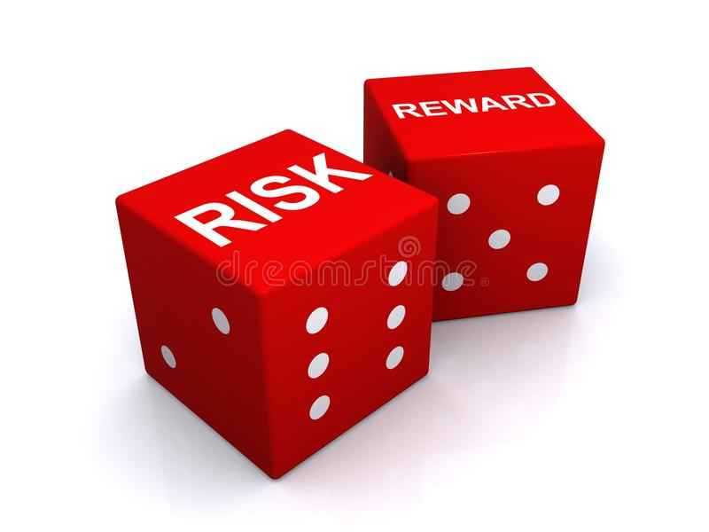 Risk and reward dice. Two red dice with words risk and reward on white background royalty free illustration