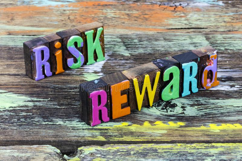 Risk reward investment decision business opportunity gamble finance benefit analysis royalty free stock image