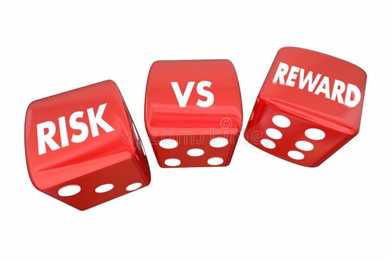 Risk Vs belöningrullningstärning ROI Words royaltyfri illustrationer