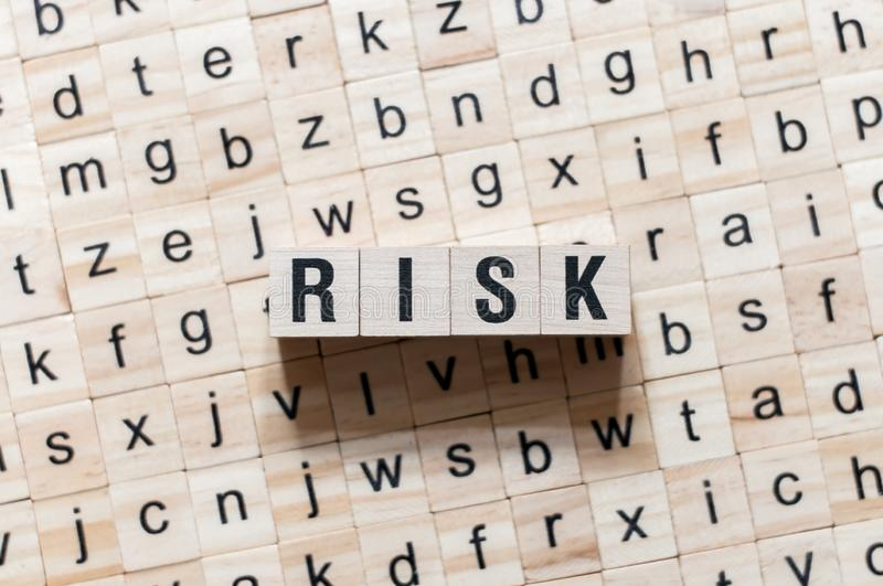 Risk word concept on cubes royalty free stock image