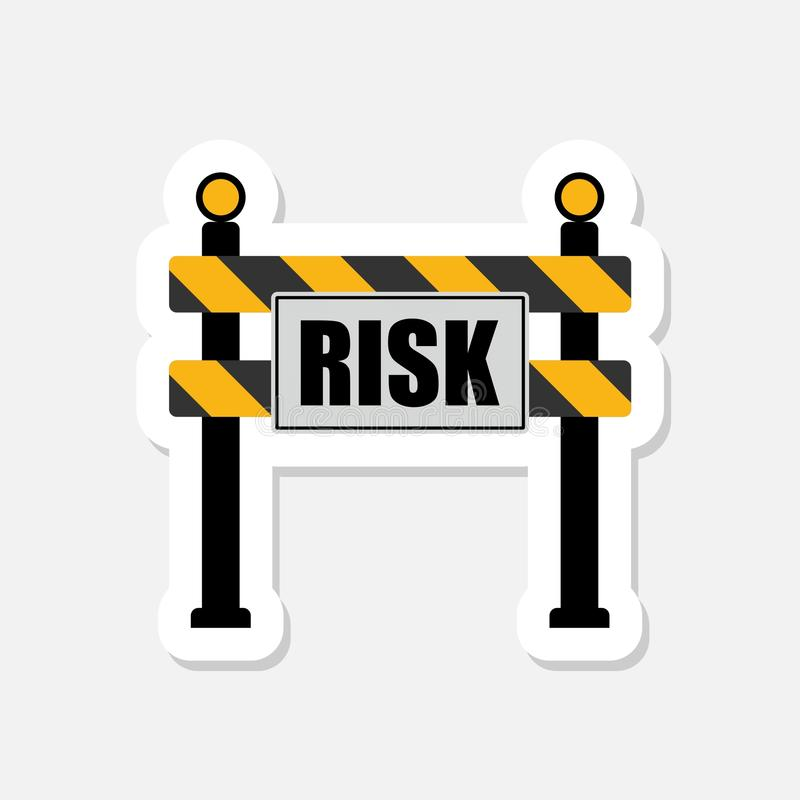 Risk word on a road construction barrier or sign warning royalty free illustration
