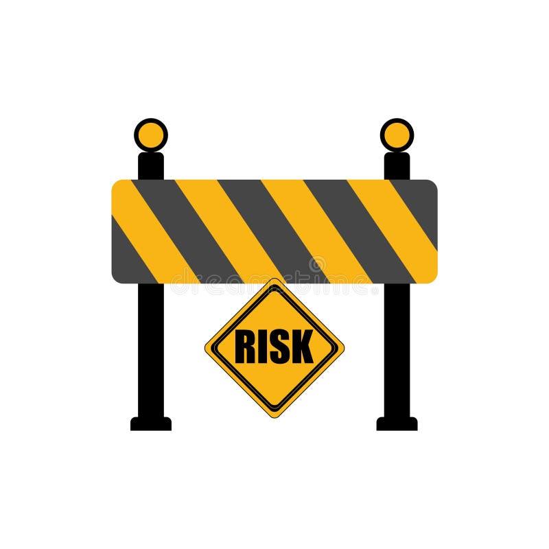 Risk word on road sign, road barrier concept vector illustration