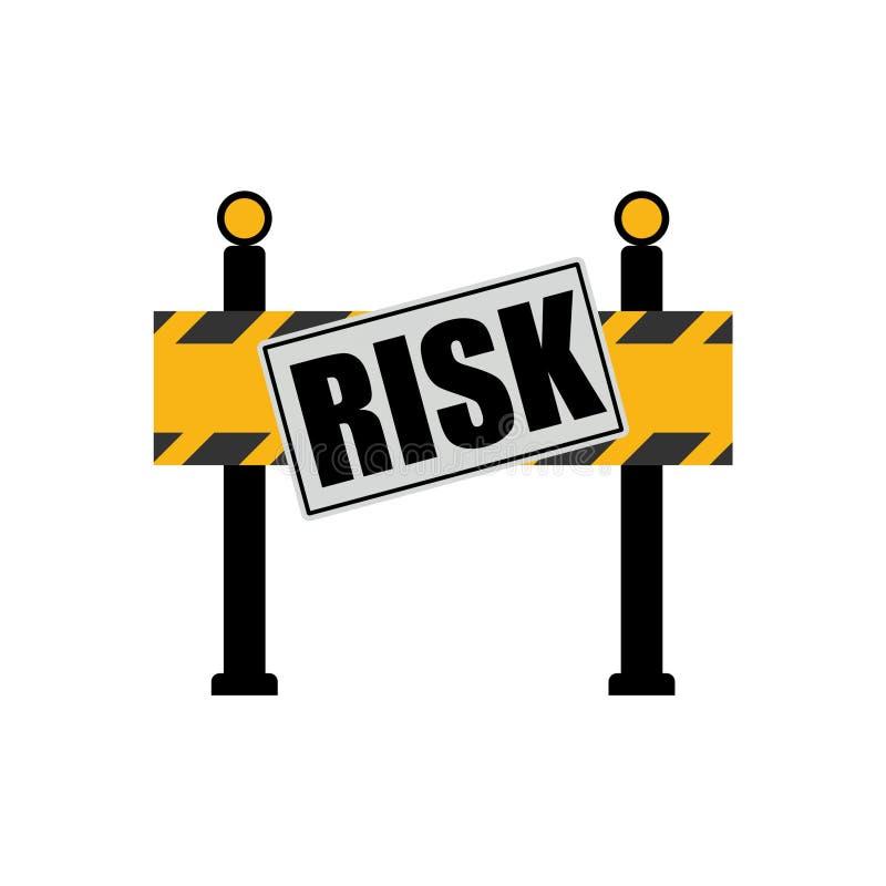 Risk word on road sign, road barrier concept stock illustration