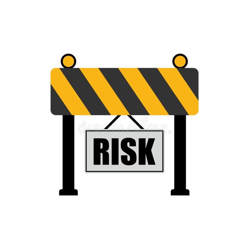Risk word on road sign, road barrier concept royalty free illustration