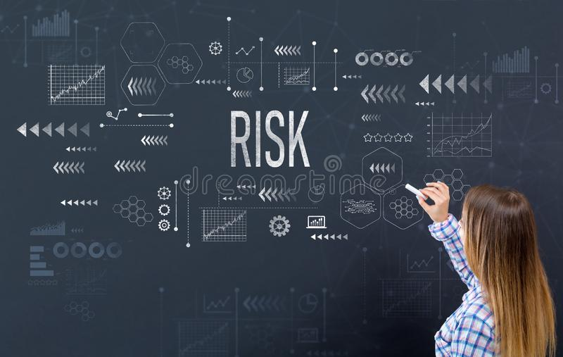 Risk with young woman royalty free stock photo