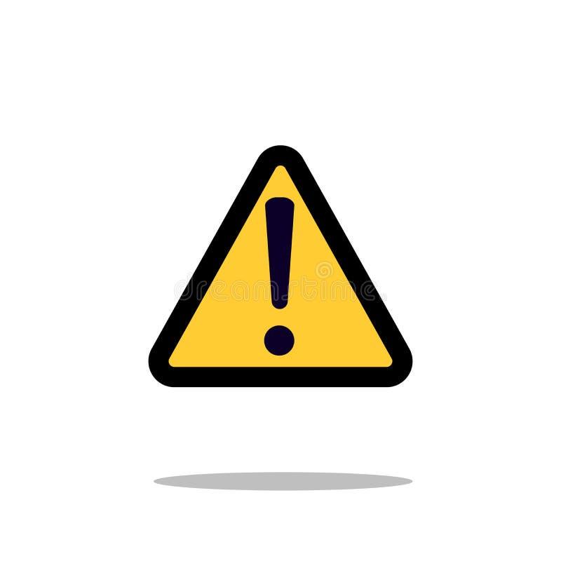 Riskieren Sie warnendes Aufmerksamkeitszeichen mit Ausrufezeichensymbolikonen-Vektorillustration lizenzfreie abbildung