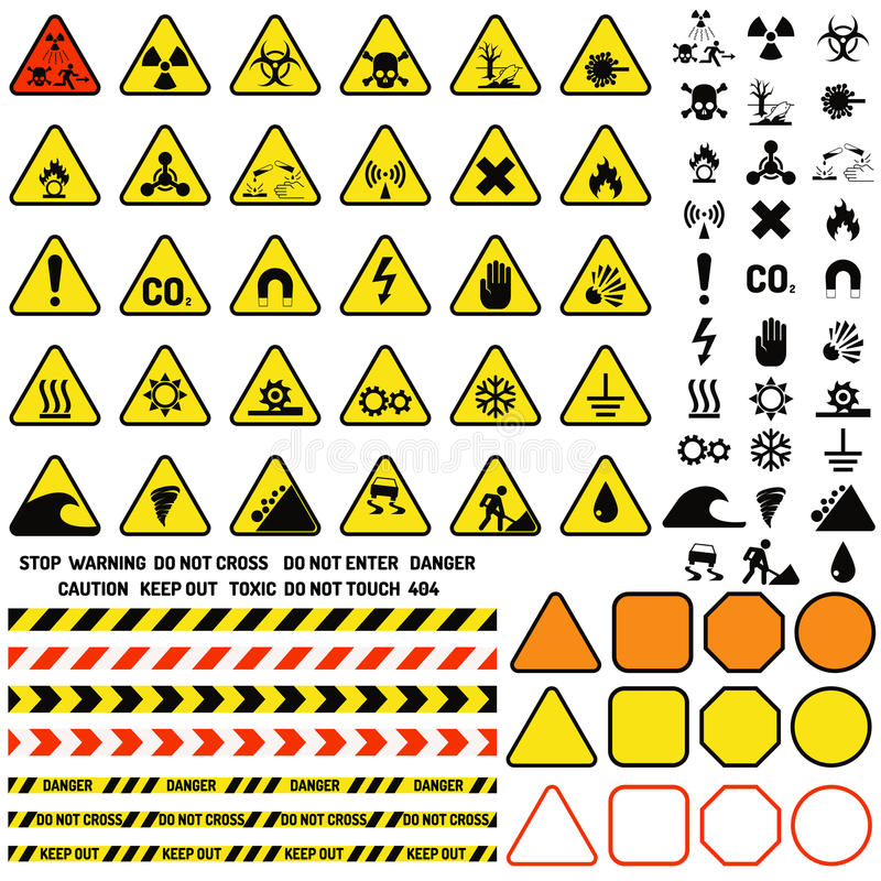 Riskieren Sie warnendes Aufmerksamkeitszeichen mit Ausrufezeichensymbolinformationen und Mitteilungsikonenvektor lizenzfreie abbildung