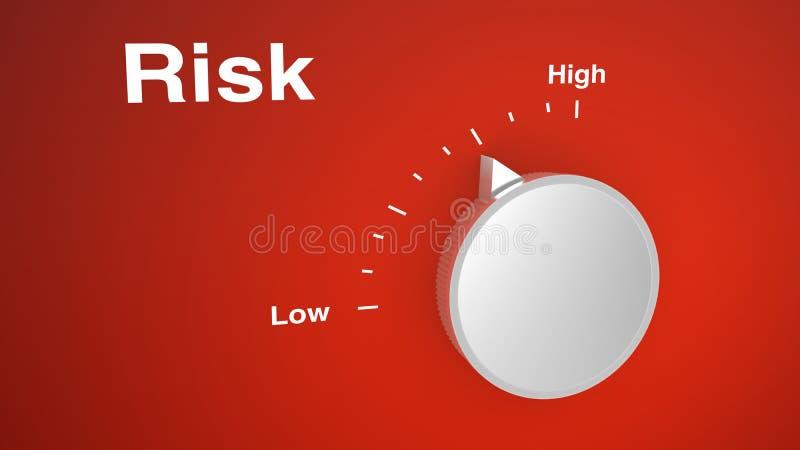 Riskkontrollknopp på rött royaltyfri illustrationer
