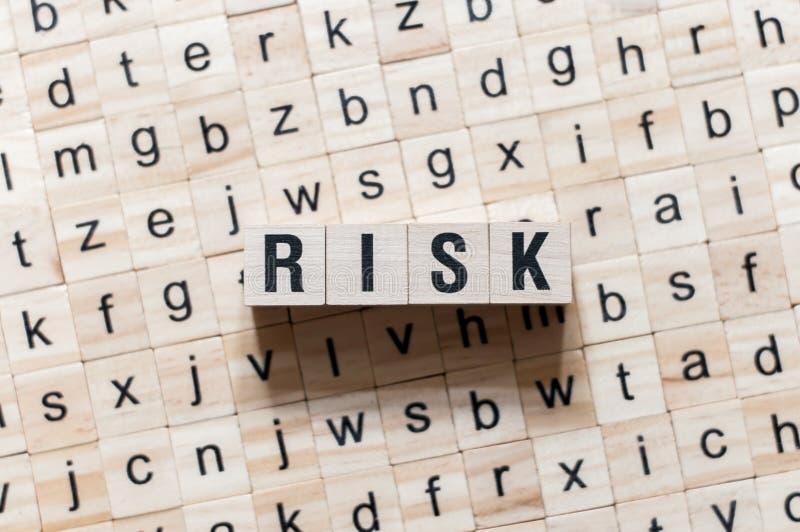 Riskordbegrepp på kuber royaltyfri bild