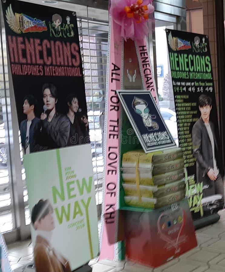 RISKRANSAR PÅ KIM HYUN JOONG NY VÄGkonsert 23/02/19, Busan, Sydkorea arkivfoton