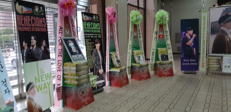 RISKRANSAR PÅ KIM HYUN JOONG NY VÄGkonsert 23/02/19, Busan, Sydkorea royaltyfri fotografi