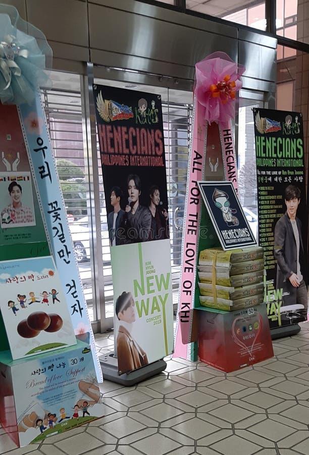 RISKRANSAR PÅ KIM HYUN JOONG NY VÄGkonsert 23/02/19, Busan, Sydkorea royaltyfri foto