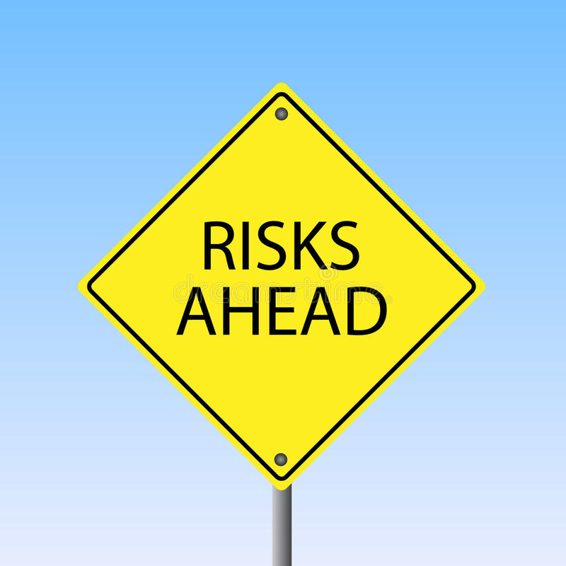Risks Ahead. Image of a yellow Risks Ahead road sign with a sky background royalty free illustration