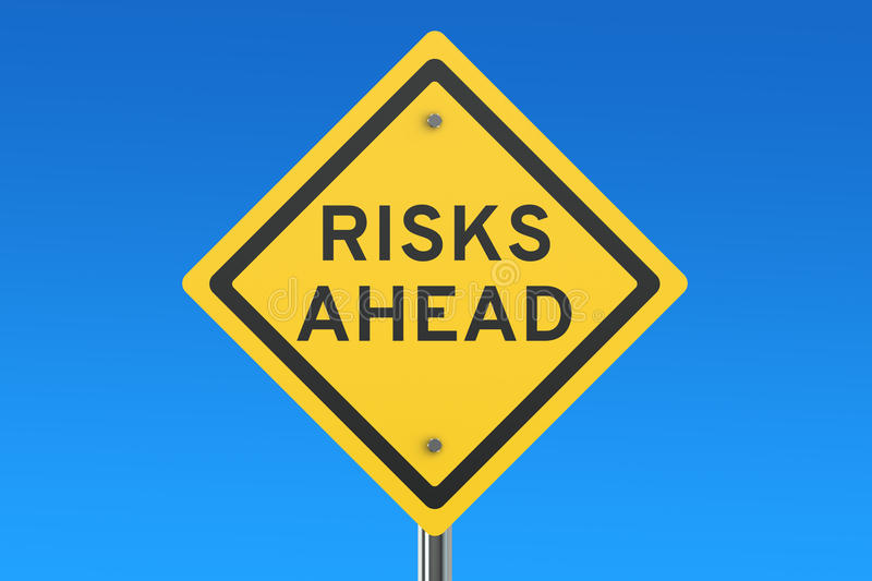 Risks Ahead road sign. On blue sky stock illustration