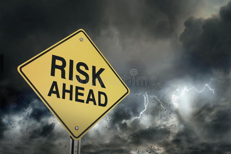 Risks ahead road sign stock images