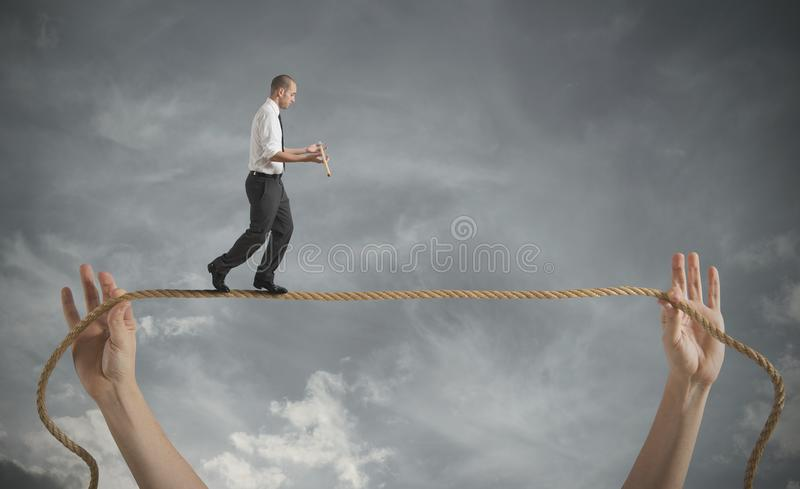 Risks and challenges of business life stock image