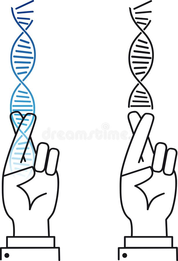 Risks in gene therapy. Scientist keeping fingers crossed as a metaphor for risks in gene therapy and genetic engineering, EPS 8 vector, color and black options vector illustration