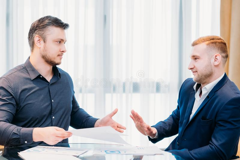 Risky illegal business affair partner refusal stock photos
