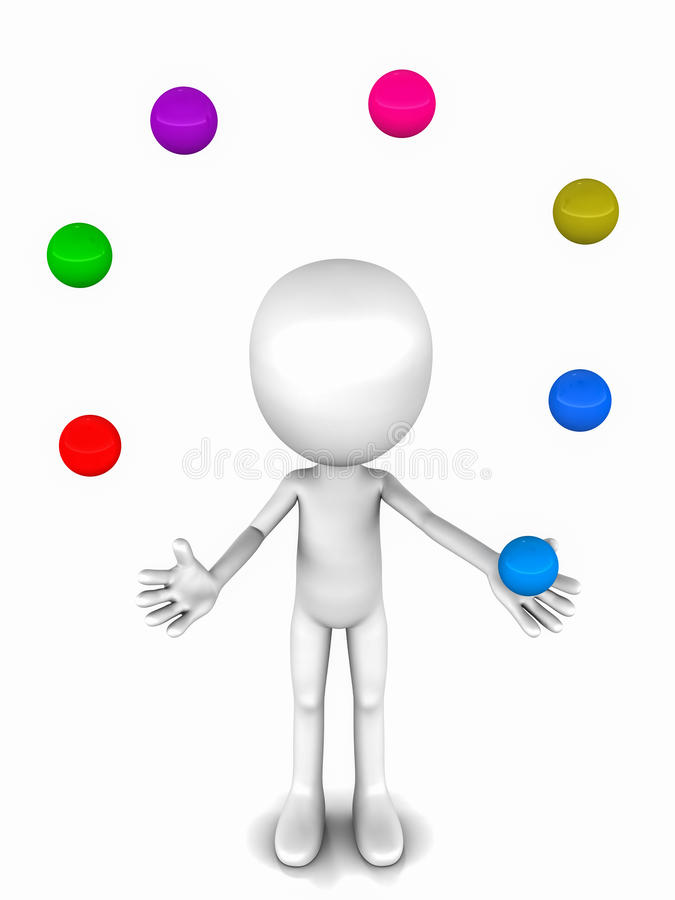 Risky juggle. Juggler juggling colored ball, concept of risky double game in handling situations and postponing challenges stock illustration
