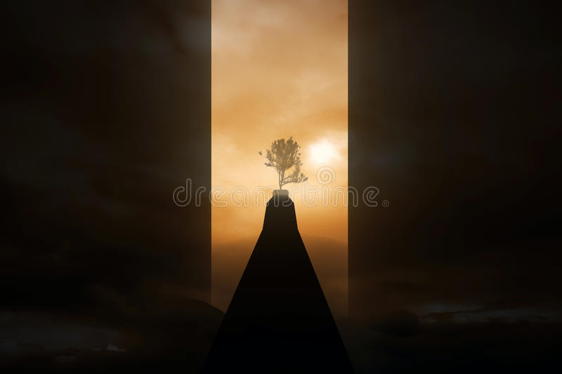 Risky path to success. Risky road to success. Dark path to growing tree on abstract sunset background royalty free stock image