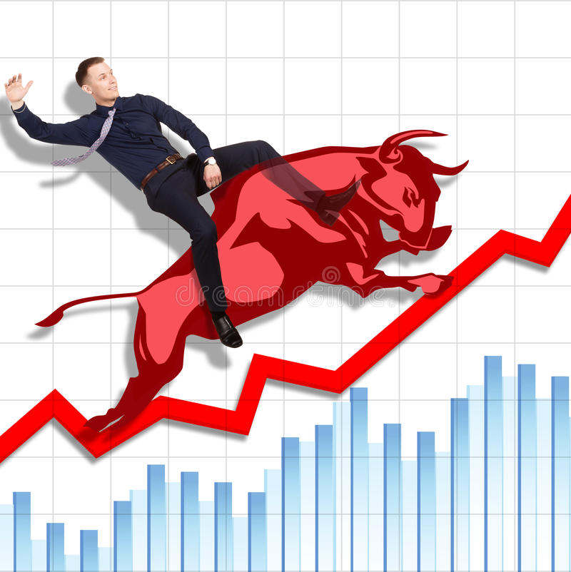Risky but successful rodeo on Stock Exchange royalty free stock photo