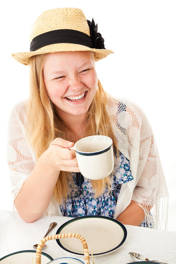 Riso adolescente do tea party foto de stock