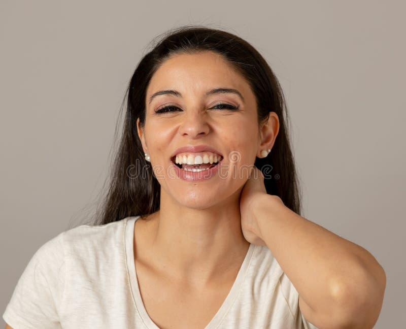 Riso atrativo novo da mulher Face feliz Expr humano positivo imagens de stock