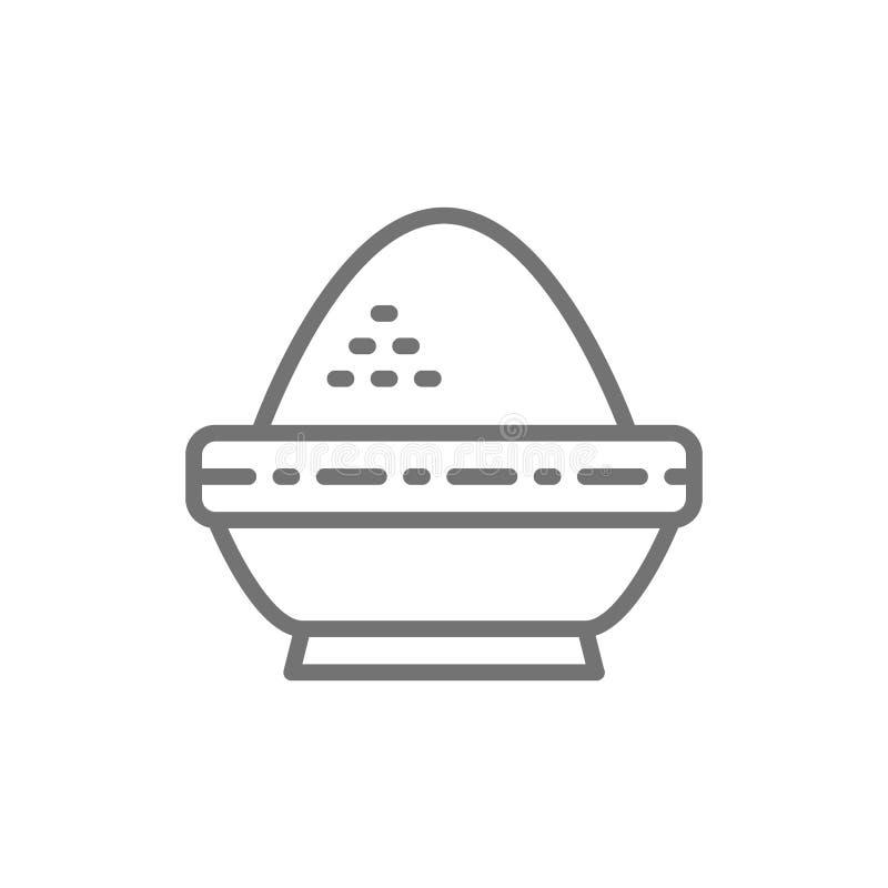 Riso in ciotola, linea indiana icona di cucina illustrazione vettoriale