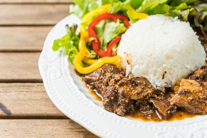 riso con la carne di maiale del riso dell'arrosto immagine stock libera da diritti