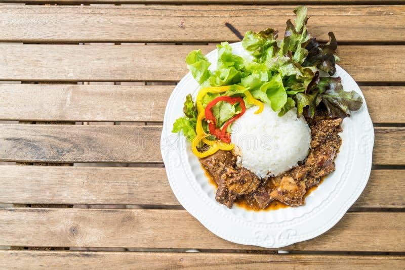 riso con la carne di maiale del riso dell'arrosto fotografie stock libere da diritti