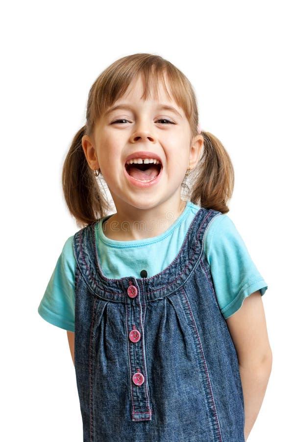 Riso consideravelmente doce da rapariga isolado imagens de stock