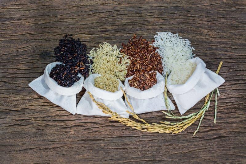 Riso crudo misto, riso del gelsomino, riso sbramato, riso nero del gelsomino e Riceberry immagine stock