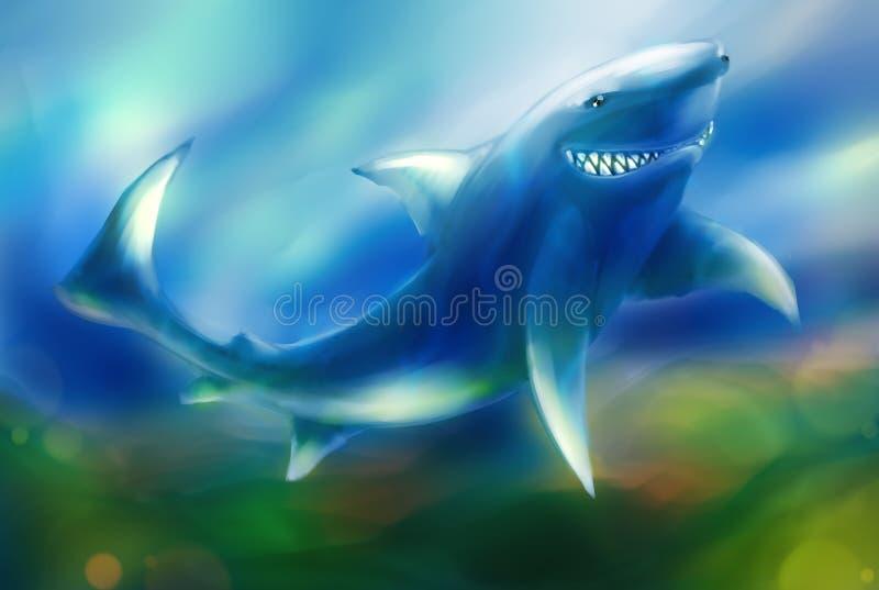 Riso debochado do tubarão ilustração stock