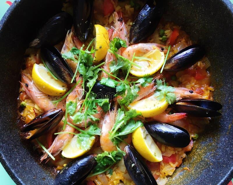 Riso dei frutti di mare della Spagna fotografie stock