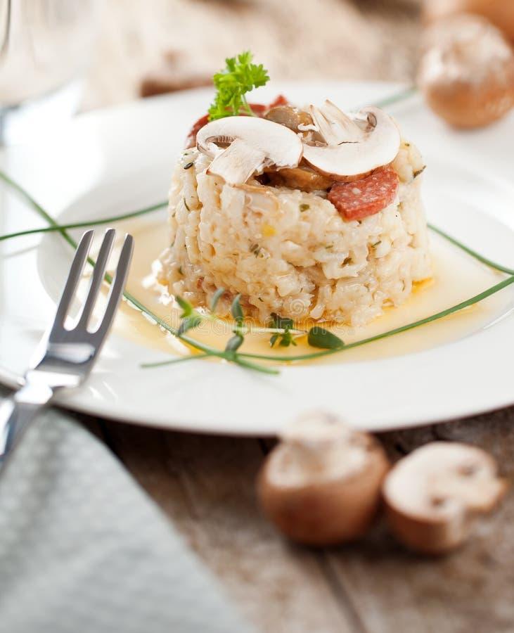 Riso delizioso con i funghi ed i rosmarini, risotto immagine stock
