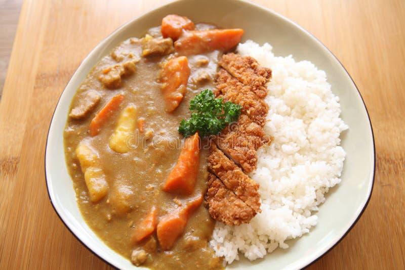 Riso di curry con carne di maiale fritta fotografia stock libera da diritti
