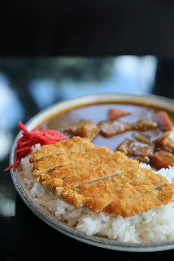 Riso di curry con l'alimento giapponese infornato della carne di maiale fotografie stock libere da diritti