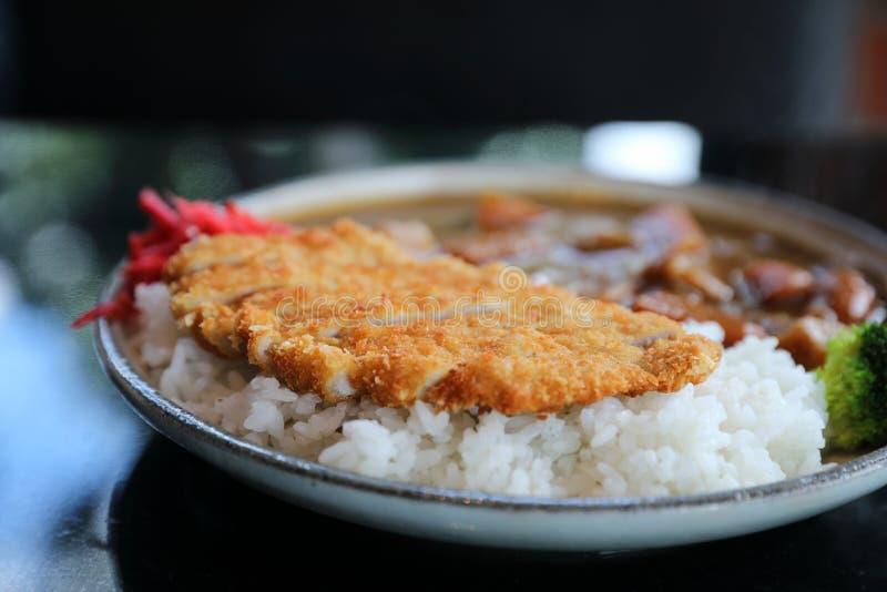 Riso di curry con l'alimento giapponese infornato della carne di maiale immagine stock libera da diritti