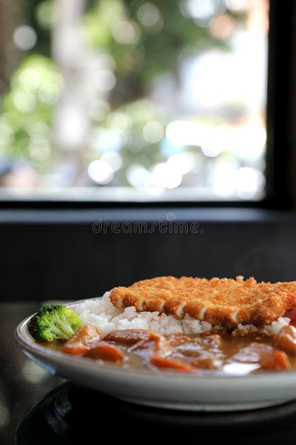 Riso di curry con l'alimento giapponese infornato della carne di maiale immagini stock libere da diritti