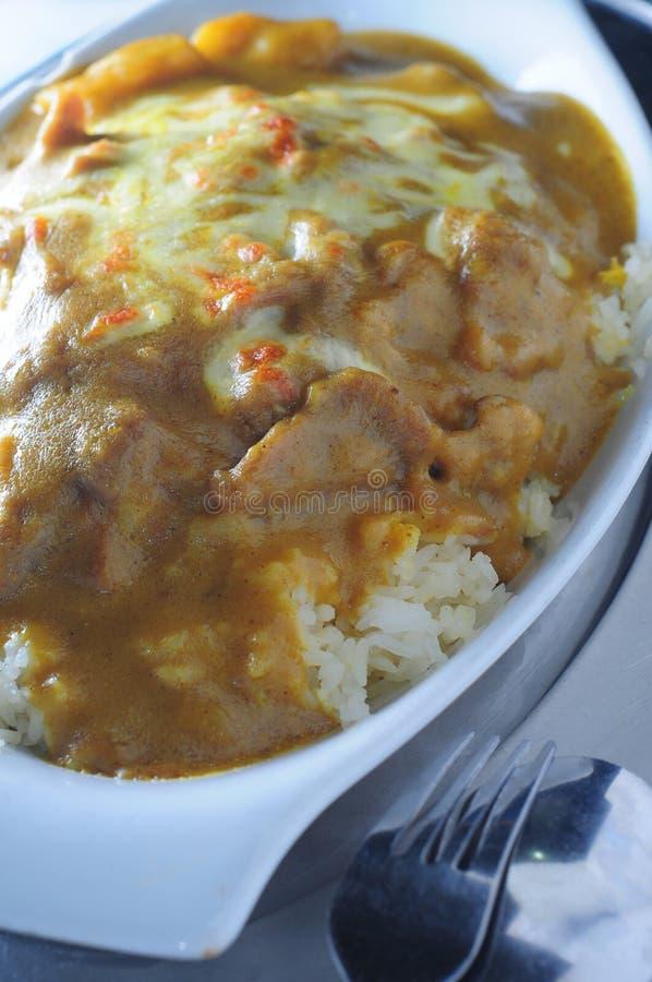 Riso di curry cotto del porco fotografia stock