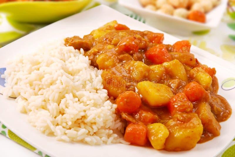 Riso di curry giapponese fotografie stock