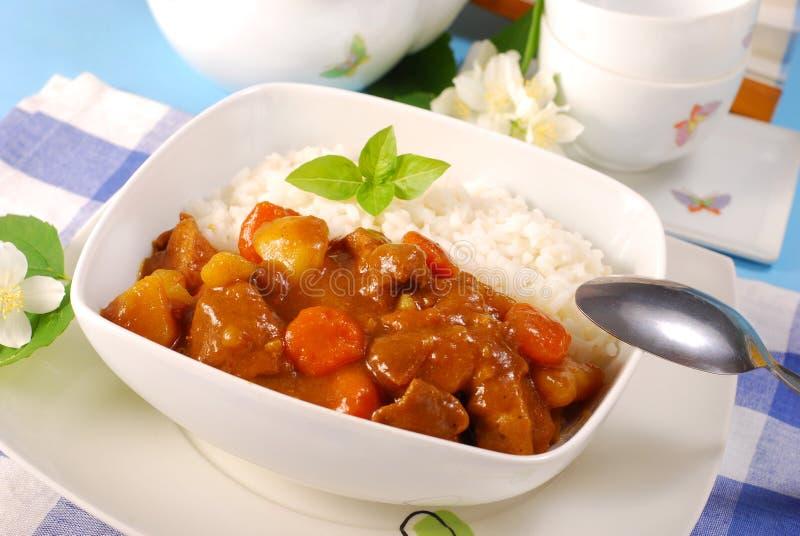 Riso di curry giapponese fotografia stock libera da diritti