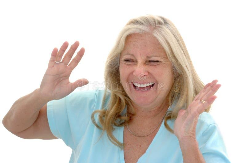 Riso engraçado da mulher imagens de stock