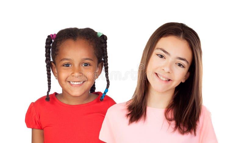 Riso engraçado de duas crianças fotografia de stock