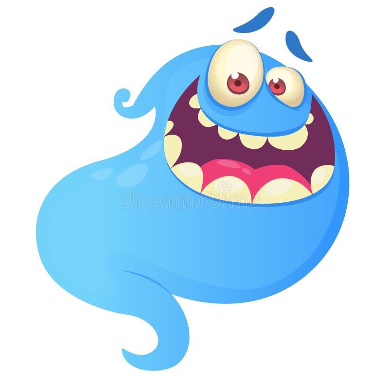 Riso engraçado do fantasma dos desenhos animados Ilustração azul do fantasma do vetor ilustração royalty free