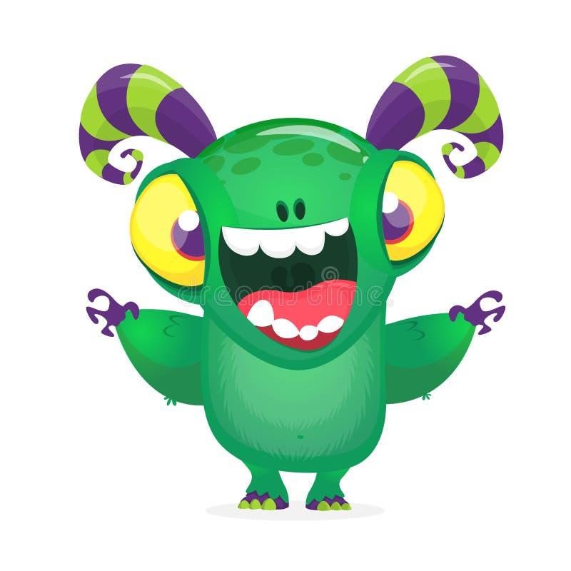 Riso excitado dos desenhos animados monstro engraçado ilustração stock
